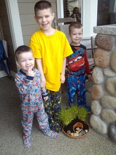 The boys and their Easter Tomb