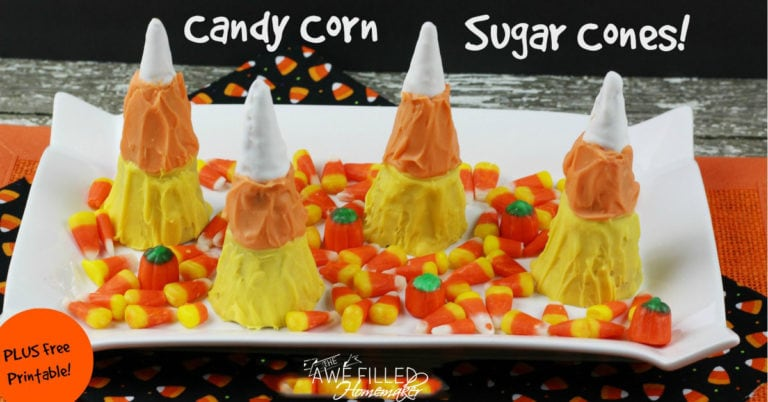 Candy Corn Sugar Cones + FREE Fall Activity Printable!