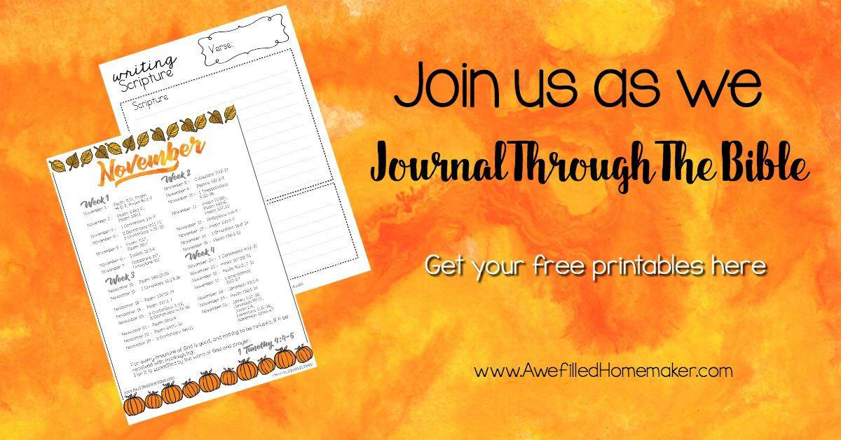 A Month Of Thanks-November's Journal Through the Bible Challenge