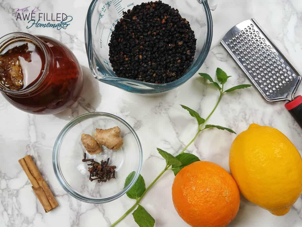 Here are your ingredients for Elderberry Syrup in an Instant Pot, including honey, cloves, and lemons.