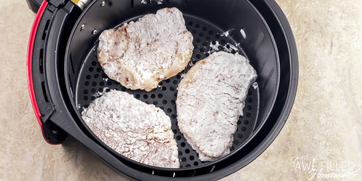 Lay air fryer pork chops in one layer.