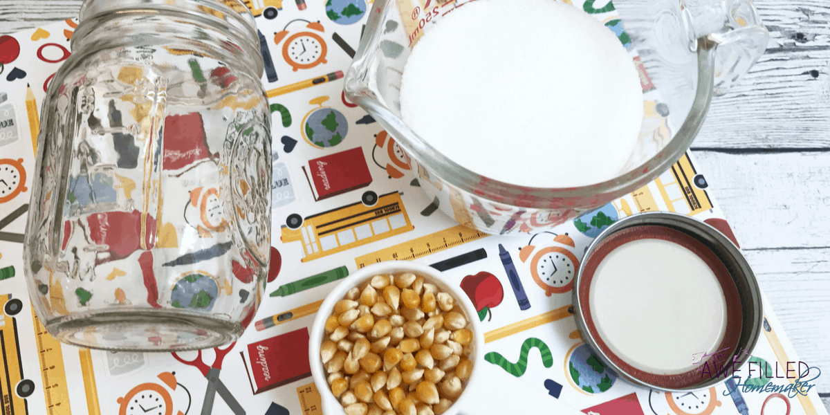 With only 3 ingredients and a jar, this Popcorn and Salt Science Experiment is a breeze!