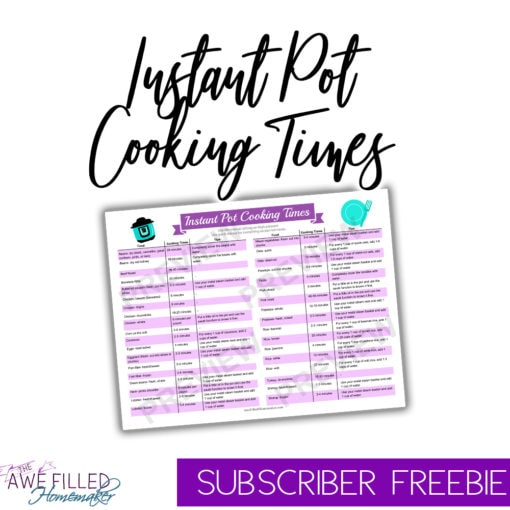 Instant pot cooking times printable