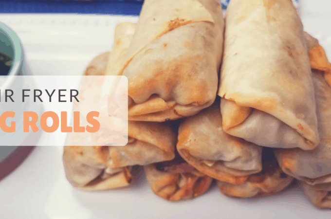 air fryer egg rolls neatly stacked for display