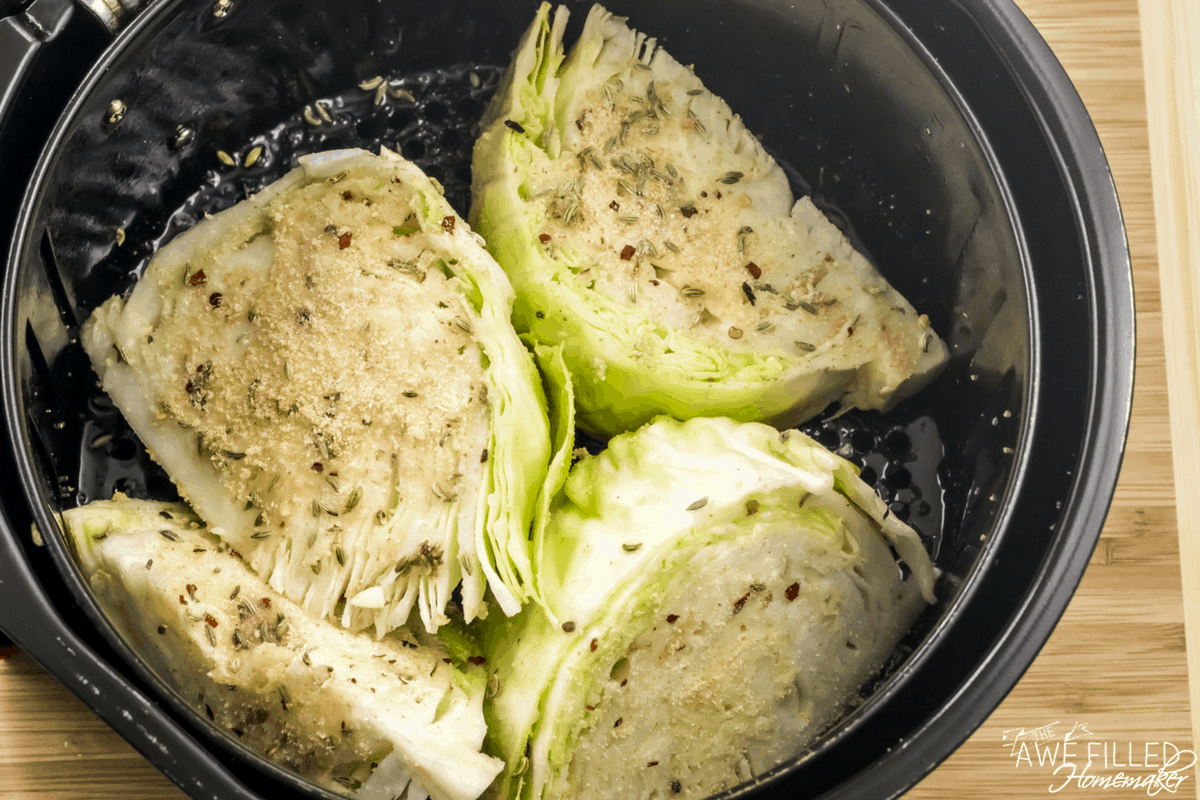 Air Fryer Cabbage Wedges with Bacon