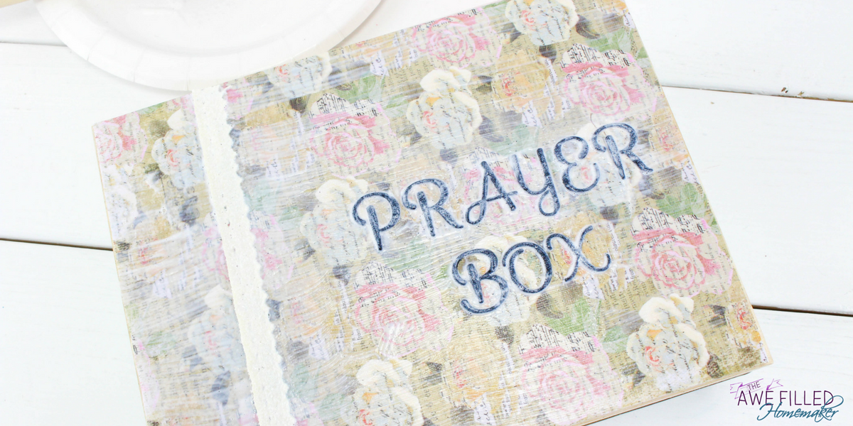 Add small piece of lace and lay that on the top left side of prayer box.