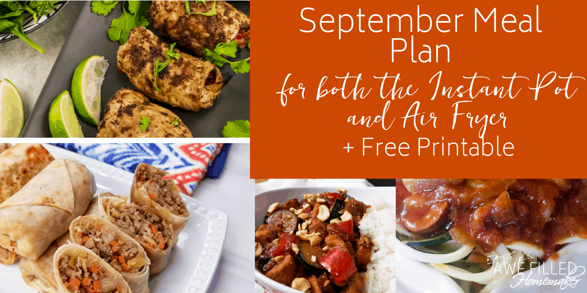 September Meal Plan for both the Instant Pot and Air Fryer