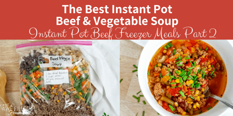The Best Instant Pot Beef & Vegetable Soup {Instant Pot Beef Freezer Meals Part 2}