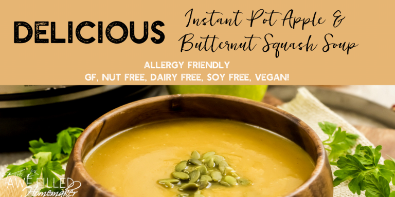 Delicious Instant Pot Apple & Butternut Squash Soup {Allergy friendly-Vegan}