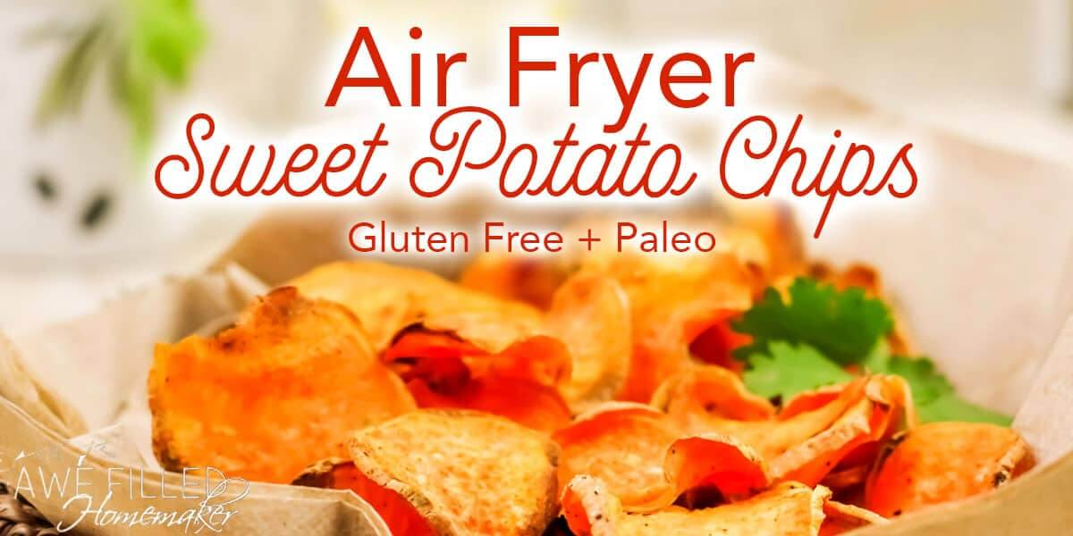 Air Fryer Sweet Potato Chips is a healthier alternative as a gluten free paleo type recipe.