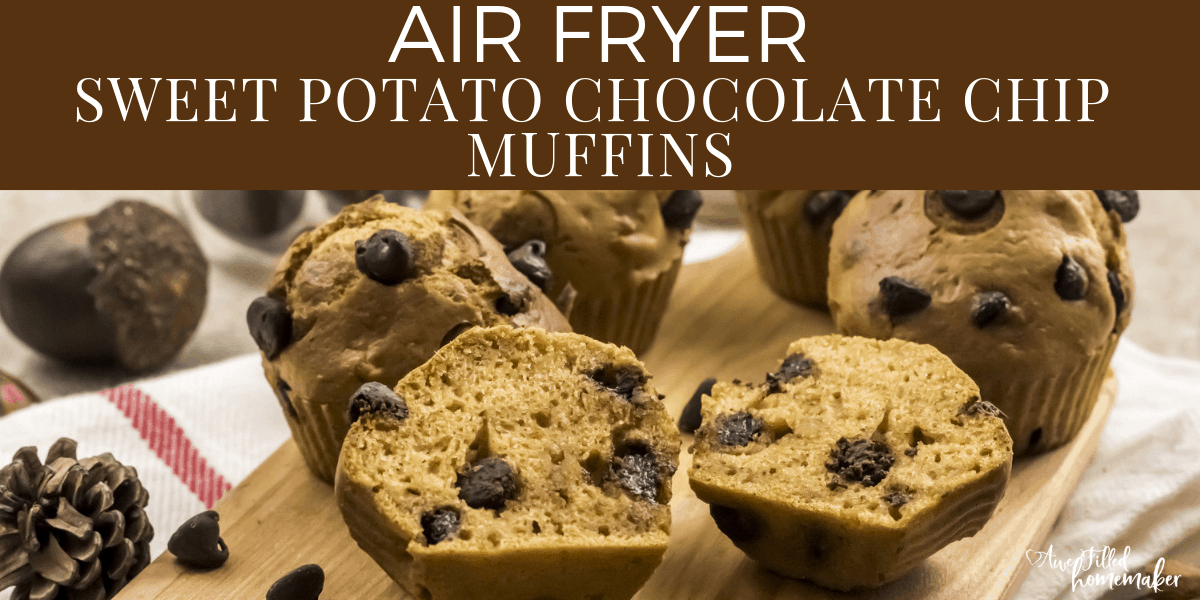 Air Fryer Sweet Potato Chocolate Chip Muffins