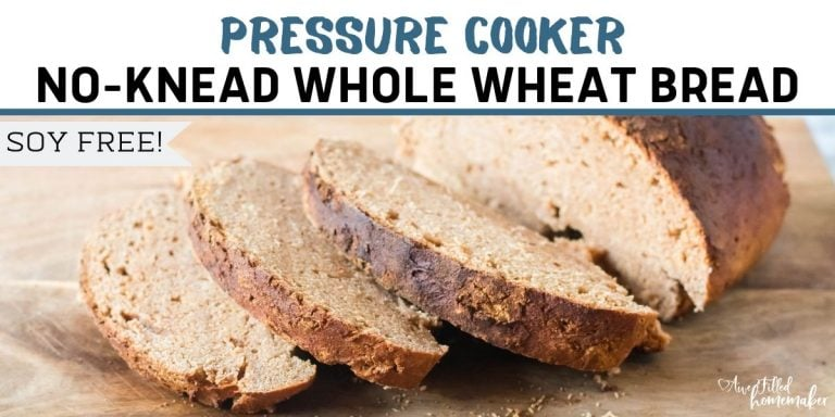 Pressure Cooker No-Knead Whole Wheat Bread (soy-free)