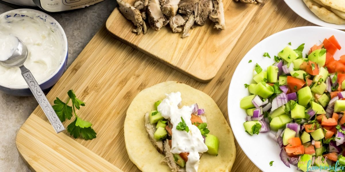 These Instant Pot Greek Gyros are a fun way to introduce new dishes to your family without going too strange. A very aromatic dish with no lack in flavor due to the plethora of spices. This dinner is four layers of flavor starting with warm pita bread topped with gyro meat, fresh salad, and garlic yogurt sauce. This is definitely a dinner that aims to please without breaking the bank.